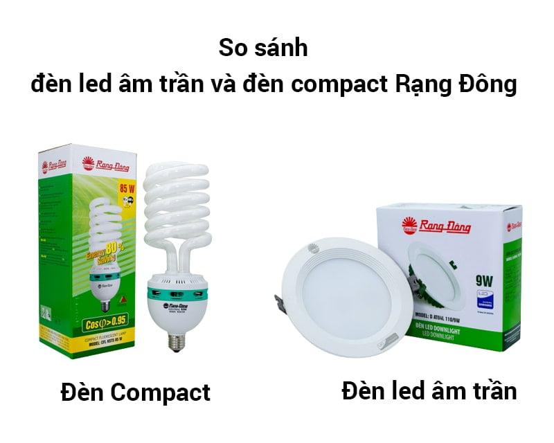 So sánh đèn led âm trần và đèn compact Rạng Đông