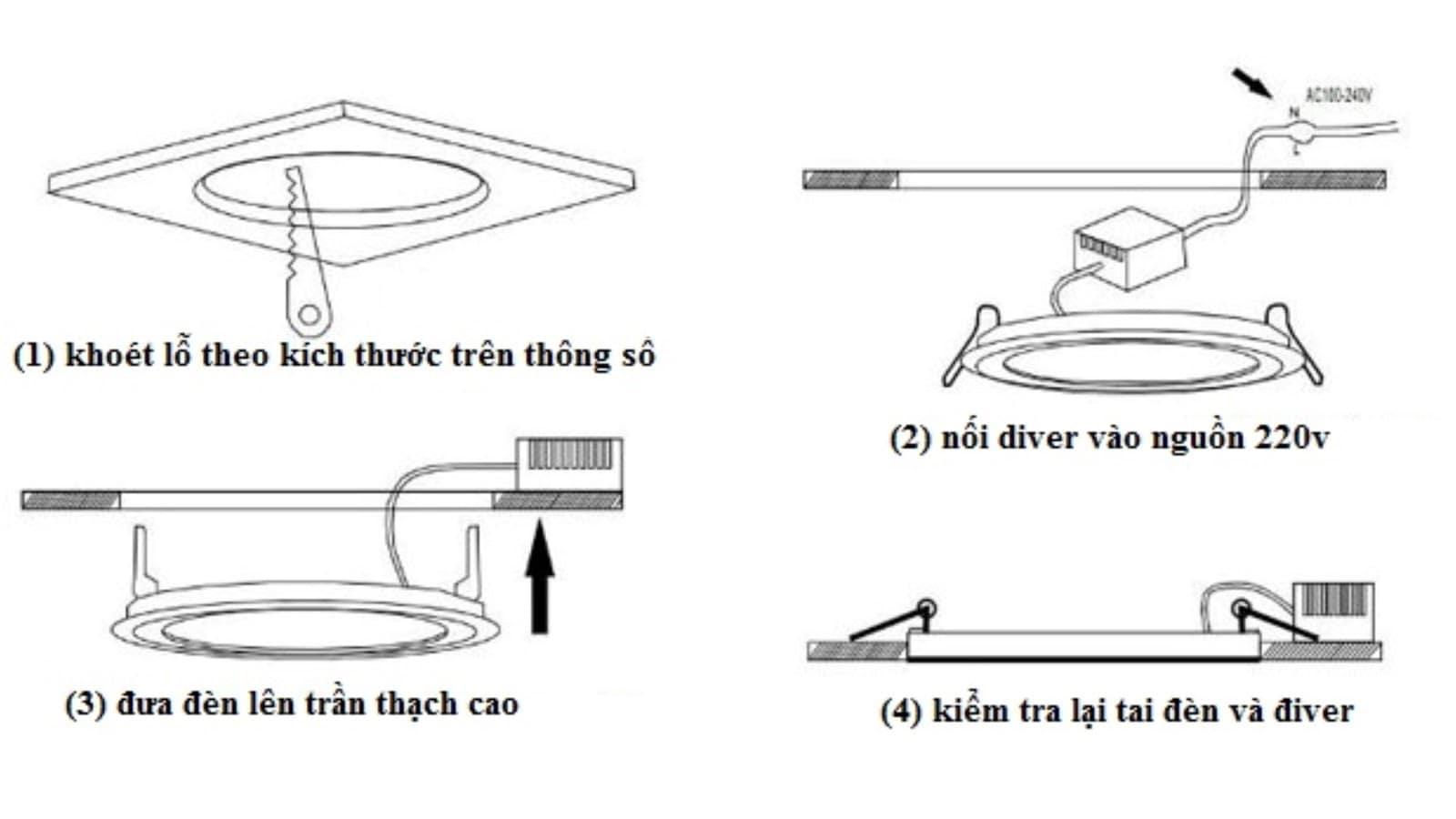 Cách lắp đặt đèn led panel loại nhỏ